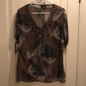BKE Boutique beaded blouse size small